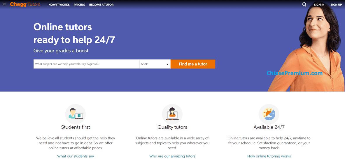 Nếu bạn cần hỗ trợ nhanh nhất thì hãy xem xét gói Chegg Tutor.