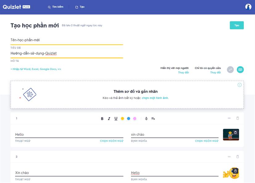 4 Tao hoc phan tren ung dung Quizlet Plus - Hướng dẫn dùng ứng dụng Quizlet và chia sẻ tài khoản trải nghiệm Quizlet Plus & Teacher 2020
