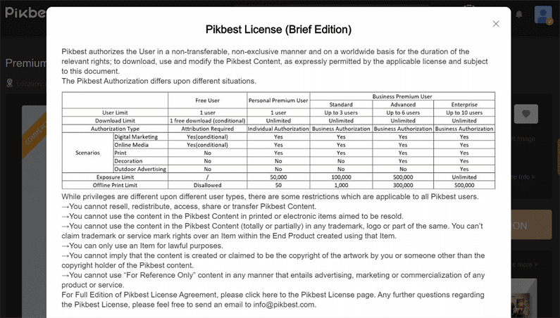 5 Giay phep su dung tai nguyen tren Pikbest - Hướng dẫn sử dụng và hỗ trợ tải file Pikbest premium miễn phí 2020