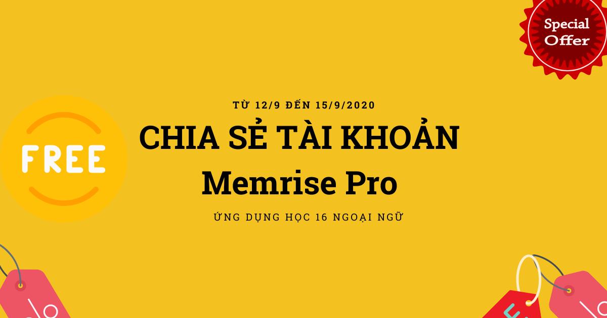 Giveaway Premium-Chia sẻ tài khoản Memrise Pro